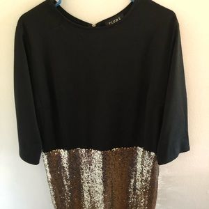 Black and gold sequin ASOS dress